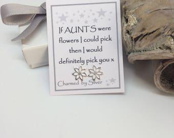 Sterling Silver Flower stud Earrings with Message 'If Aunts were like flowers ...'