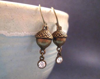 Acorn Earrings, Bronze Acorns and Rhinestones, White and Brass Dangle Earrings, FREE Shipping U.S.