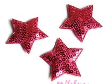 Dark pink set of 5 star fabric sequins embellishment scrapbooking (ref.310) *.