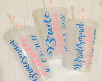 Personalised tumblers with frost effect - wedding party, hen party or birthday party gifts