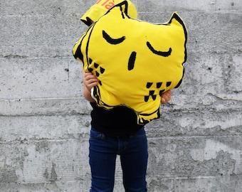 Screen Printed Owl Pillow, Children Kid Owl Lovie Pillow, Eco Friendly Plush