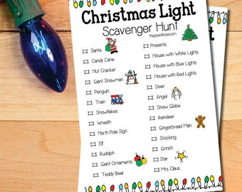 Christmas Light Scavenger Hunt Game Adults and Children Printable PDF