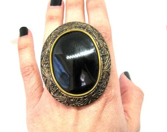 Black ring Black jewelry Black large ring Gothic ring Goth ring Victorian ring Victorian Large ring Black Gothic ring gift Black Big ring