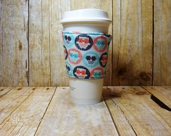 Fabric Coffee Cozy / Owl Coffee Cozy / Bird Coffee Cozy / Coffee Cozy / Tea Cozy