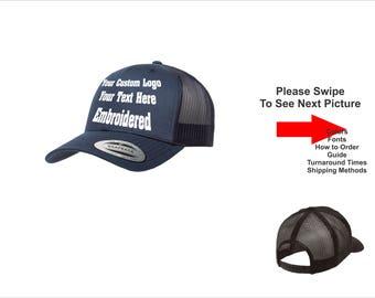 Custom Hat. Custom Logo Hat . Custom Text Hat .Curved Bill Mesh Back. Trucker Mesh. Customize Snapback. Embroidered.  Adjustable Snap back.