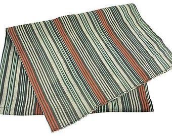 African Striped White/Orange/Aqua Baule Mud Cloth Throw
