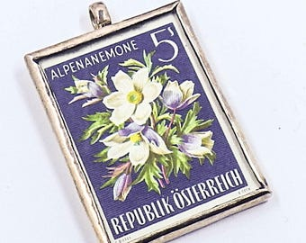 Austria Republic Osterreich Flower Stamp Sterling Silver Framed Pendant Alpine Anemone Alpenanemone, Unique Flower Pendant