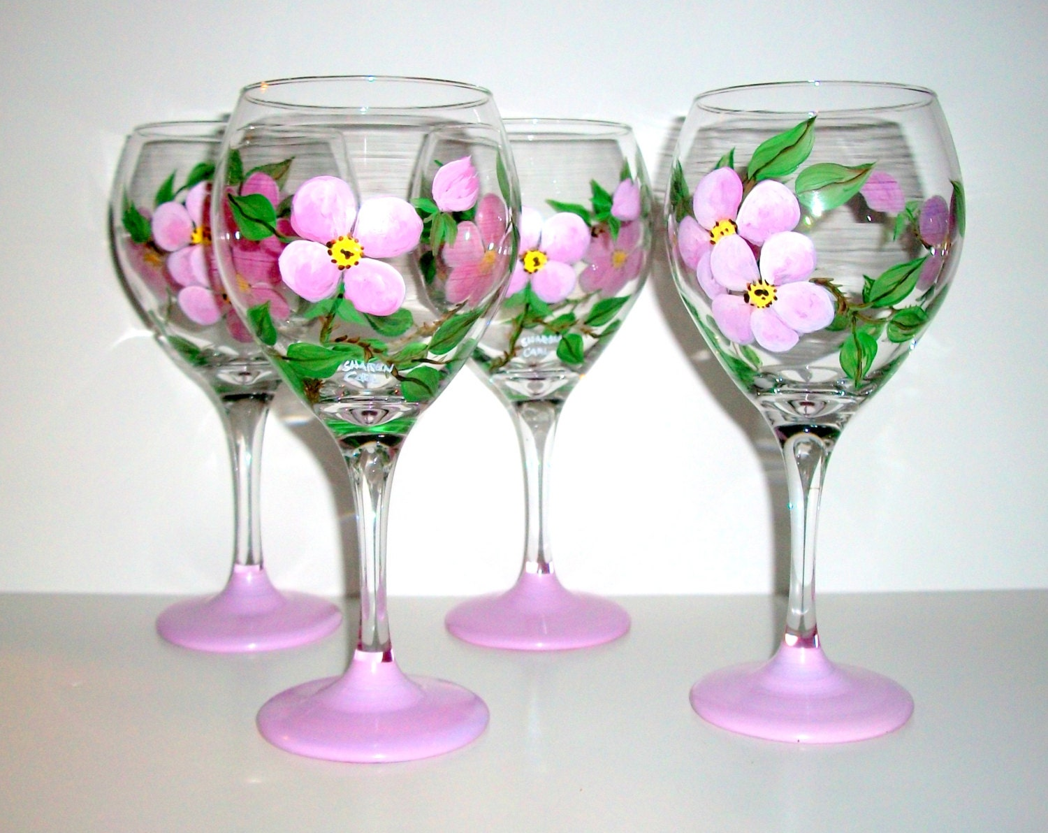 Bridesmaids Gifts Hand Painted Pink Flower Wine Glasses Set of