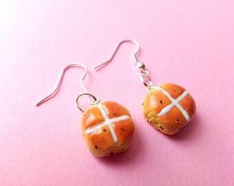 Hot Cross Buns Earrings, Fake Food, Miniature Food, Easter, Gift for Her, Kawaii