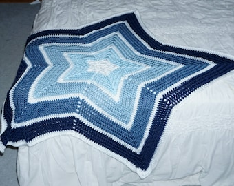 Star Shaped, Blue Stripped Baby Blanket