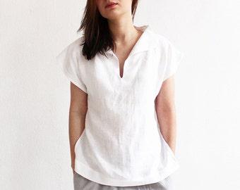 Linen blouse women, Linen women's clothing, Short sleeve linen shirt, Linen women top, White blouse, White linen blouse, White top for woman