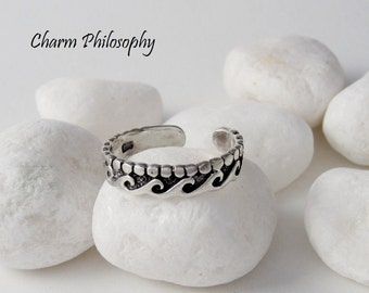 Ocean Waves Toe Ring - 925 Sterling Silver Jewelry - Abstract Design