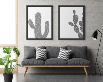 Abstract graphic cactus art print, digital art, desert, modern art, minimal art, home decor, monotone print