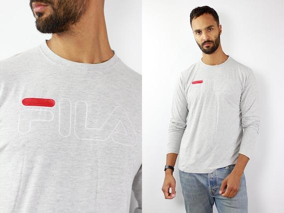 Vintage FILA Sweatshirt 90s Fila Sweatshirt 90s Long Sleeve Fila Jumper Fila Vintage Jumper Streetwear Grey Sweatshirt 90s Sweatshirt Fila