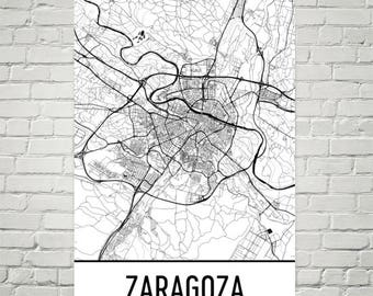 Zaragoza Map, Zaragoza Art, Zaragoza Print, Zaragoza Spain Poster, Zaragoza Wall Art, Map of Spain, Spanish Gifts, Spanish Decor, Spain Map