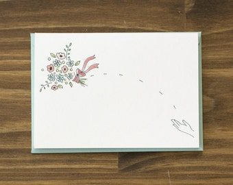 bouquet toss floral wedding card