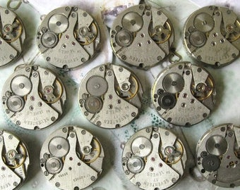 "1"" Set of 11 Watch Movements, Small Watch Movements, Steampunk Supplies, Watch Movements for Parts, Antique Watch Parts, Old Wa"