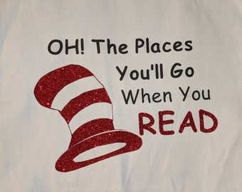 Oh the places you'll go Book bag tote