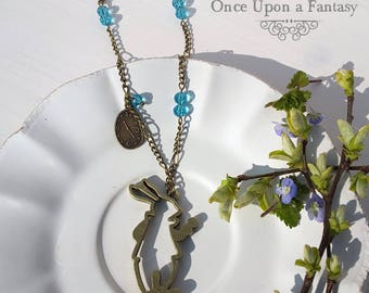 Rabbit necklace and blue beads - Once Upon a Fantasy