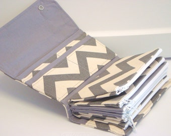 Cash Envelope  Coupon Wallet  Dave Ramsey System  ZIPPER Envelopes - Gray and Natural  Chevron Zig Zag