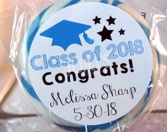 "Personalized 2018 Graduation ""Class of"" Favor Labels (pack of 24)"