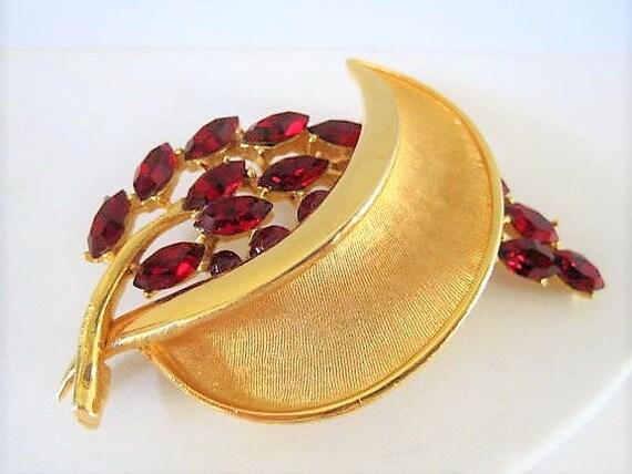 BSK Rhinestone  Brooch, Red Rhinestones,  Modermist Leaf Pin, Elegant Pin