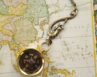Brass Dragon Compass Necklace