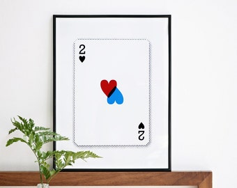 2 of Hearts Valentines Day or Anyday, Cards Print