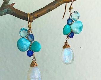 Moonlight Ocean Woven Earrings with Kyanite, BlueTopaz, Turquoise and Rainbow Moonstone