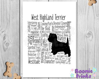 """West Highland Terrier Word Print Typography A4 Top Quality Card 10""""x8"""""""