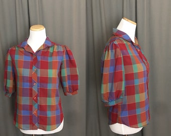 1980's Puffy Sleeved Plaid Half Sleeve Vintage Spring-Summer Button Down Blouse