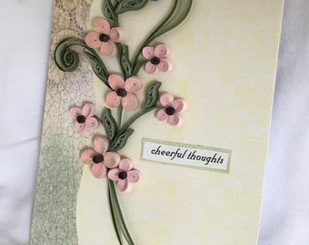 Pink Quilled Flowers, Quilled Card, Cheerful Thoughts, Thinking of You Card, Greeting Card