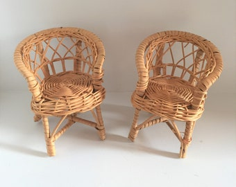 Set of two wicker chairs/ Dolls chairs/ Dolls house chairs/ Woven chairs/ Woven wicker chairs