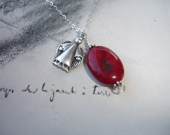 My Guardian Angel, Ruby and Sterling Silver Charm Necklace
