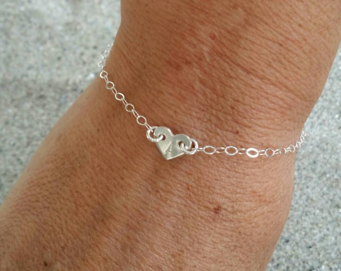 Sterling Silver Heart Bracelet, Tiny Heart, Monogram