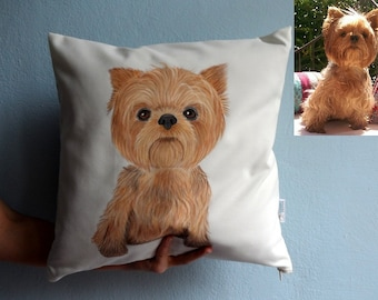 Custom Pet Painting  Pillow Cover ,  Full Body Painting - dog portrait , cat portrait ,gift for pet lovers