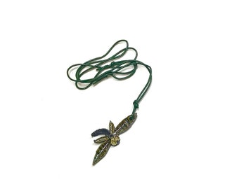 Ceramic Dragonfly Necklace~ Gift for Her, Porcelain Jewelry, Green Dragonfly Necklace