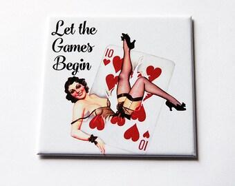 Humorous Magnet, Magnet, Let the games begin, Humor, Funny Magnet, Kitchen Magnet, Fridge magnet, Humor, Retro Design, playing cards (5662)