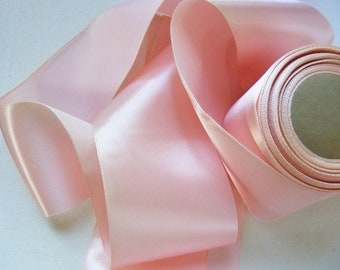 Vintage 1940's Satin Ribbon 3 3/16 Inch Gorgeous Cinderella Pink