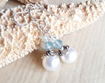 Pearl Drop Earrings! Handcrafted with an abundance of Sterling Silver & soft blue sparkling crystals!