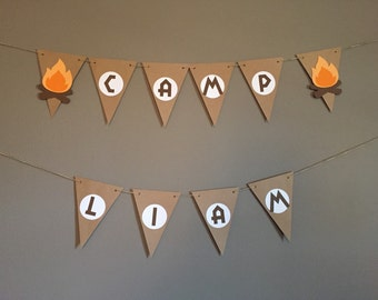 Camping Birthday Party Banner
