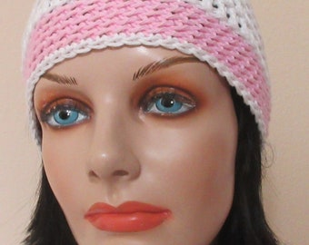 White and Pink Cotton Crocheted Beanie, Lightweight Hat, Warm Weather Accessory