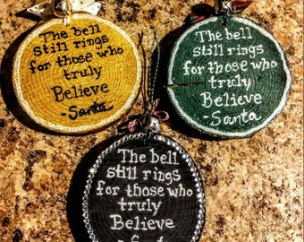 Polar Express Believe ornaments with bell