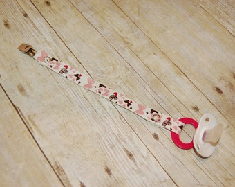Pacifier Clip, Hearts & Butterflies in Pinks, Personalization Available, Ready to Ship, Free USA Shipping