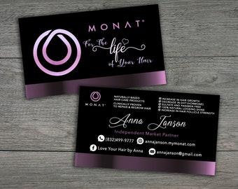 Monat Business Cards - 3,5x2 inches -Monat Business, Printable Business Cards - Monat Hair Care,Purple Monat
