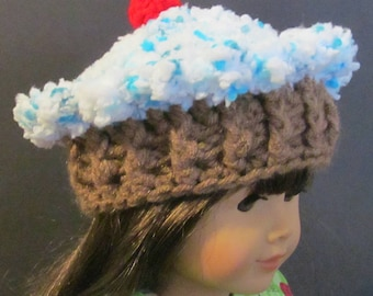 """Crochet Cupcake  Hat ~ fits 18"""" doll ~ Blue and white top with medium brown bottom"""
