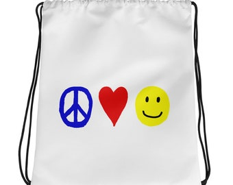 RC Peace, Love, and Happiness Drawstring Bag