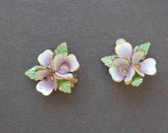 Painted enamel violets clip on earrings