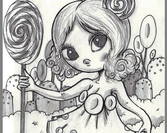 Day #176 - Candyland - Lollipop Princess Lolly - original sketch a day drawing! 5.5 x 8.5