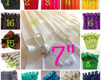 7 inch Handbag zippers with long pull, Choose TEN pcs - neutrals, navy, turquoise, aqua, purple, green, sunflower, orange, hot pink, red